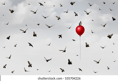 Concept of innovation as a group of birds flying in confusion with an individual bird rising up on a red balloon as a success and leadership metaphor with 3D illustration elements.