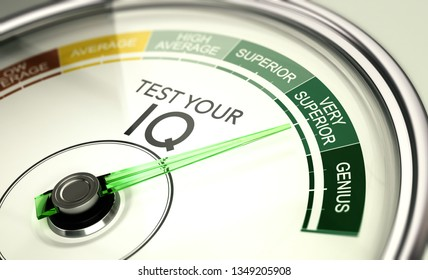 Concept of IQ testing, conceptual gauge with needle pointing very superior intelligence quotient. 3d illustration