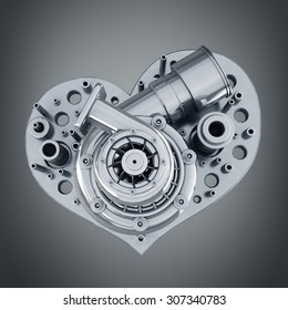 concept. iron heart turbocharger of car. High resolution 3d