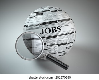 Concept of job search . Newspaper sphere and loupe. 3d