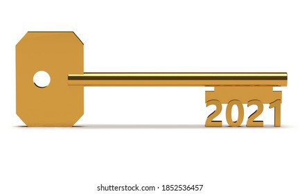Concept key with new year 2021 isolated on white. 3d rendering