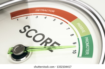 Concept of KPI, key performance indicator, Net Promoter Score Gauge with needle pointing to promoter.