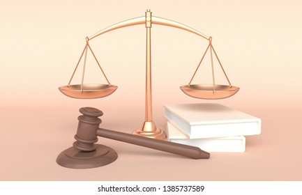 Concept law. Scales, books and judges gavel. 3d rendering