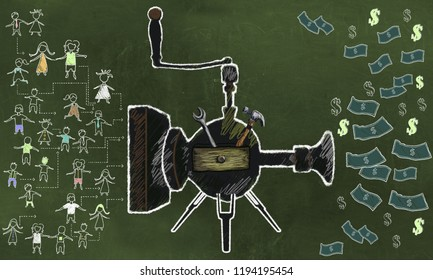 Concept of Lead Generator with Marketing Tools, People, Machine and Bank Notes. Illustrated with Chalk on Blackboard