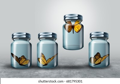 Concept of leadership and powerful business visionary metaphor as a group of resting butterflies in a glass jar with one strong individual leader flying lifting the container as a 3D illustration.