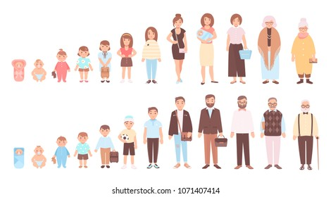 Concept of life cycles of man and woman. Visualization of stages of human body growth, development and aging - baby, child, teenager, adult, old person. Flat cartoon characters. illustration