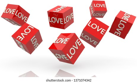 Concept of love on red rolling cubes.3d illustration