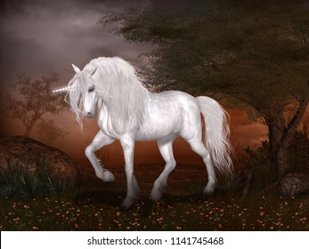 Concept of a magical unicorn standing in a fairytale landscape, 3d render