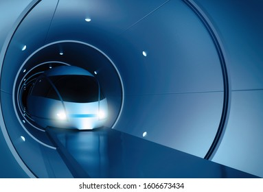 Concept of magnetic levitation train moving in a vacuum tunnel. Modern transport. Hyperloop. 3d rendering illustration
