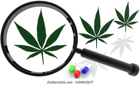 Concept of Magnifying glass and cannabis leafs in green color on white.3d illustration