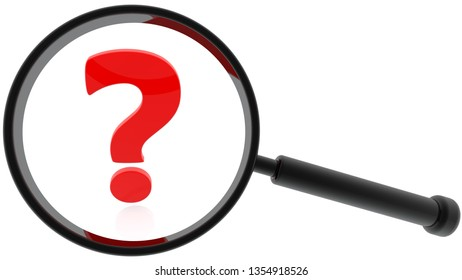 Concept of Magnifying glass and question mark in red on white.3d illustration