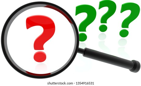Concept of Magnifying glass and question marks in red and green colors.3d illustration
