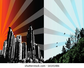 Concept man versus nature - city and forest