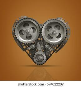 Concept Mechanical heart V8  High resolution 3d render