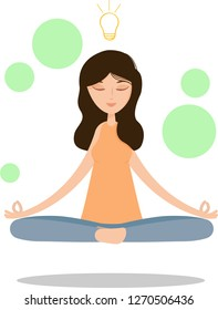 the concept of meditation, the health benefits for the body, mind and emotions, the girl sits in the lotus position, the thought process, the inception and the search for ideas.