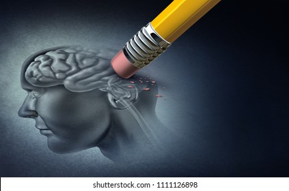 Concept of memory loss and dementia disease and losing brain function memories as an alzheimers health symbol of neurology and mental problems with 3D illustration elements.