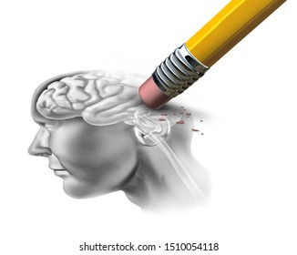 Concept of memory loss and dementia disease and losing brain function memories as an alzheimers health symbol of neurology and mental problems with 3D illustration elements on a white background.