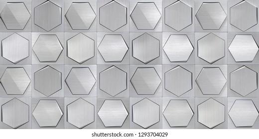 Concept Metal Tiled Wall (3d Illustration)