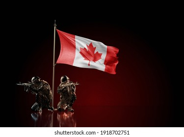 Concept of military conflict with soldier statues and waving national flag of Canada. Illustration of coup idea. Two guards defending the simbol of country against red wall.