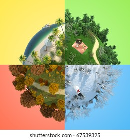 concept of miniature globe showing four season in representive landscape for each one, isolated and with clipping path.