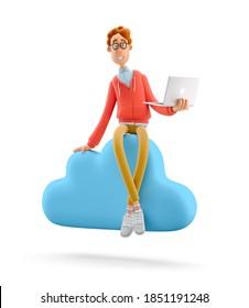 Konzept für mobile Anwendungen und Cloud-Dienste. Nerd Larry sitzt auf einem großen Cloud-Schild. 3D-Abbildung.