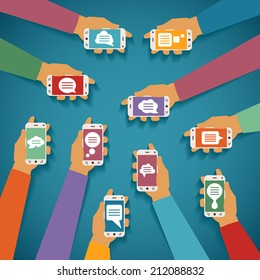Concept of mobile instant messenger chat with hands smartphones and popup dialog boxes