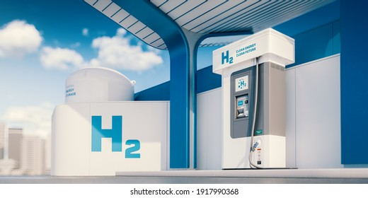 Concept of modern blue and white hydrogen (H2) refueling station in summer afternoon with blurred city in background. 3d rendering.