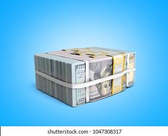 concept of money Deposite Big Stack of dollar bills Cash With Bow 3d render on blue