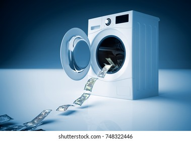 Concept of money laundering, money jump into the washing machine. 3D illustration