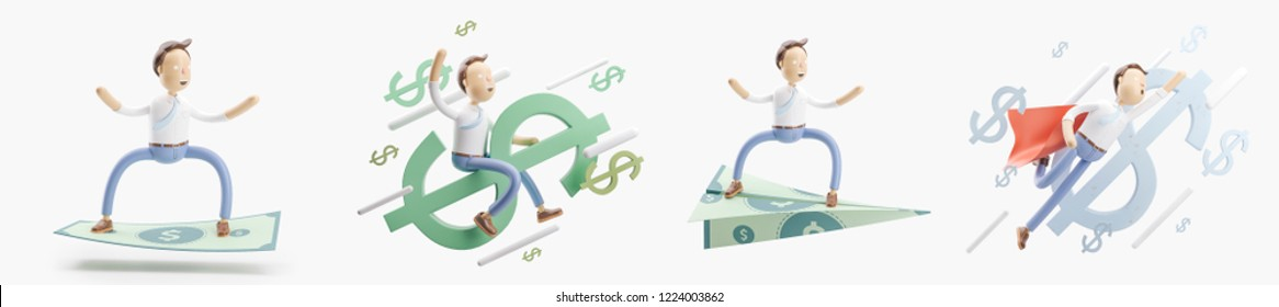concept of money transfer. set of 3d illustration.