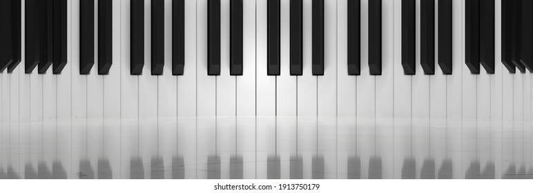 Concept of Music Hall With Piano Keys Decorated Wall and Polished Marble Floor (3D Illustration)