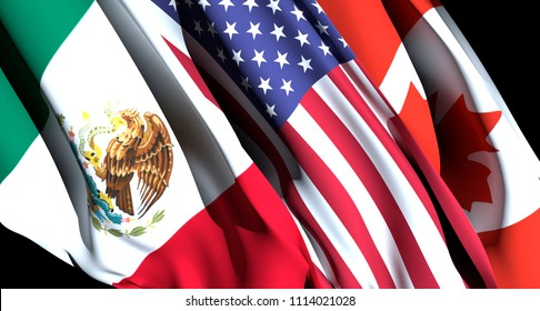 Concept of NAFTA renegotiation. North American Free Trade Agreement. Flags. 3D Rendering.