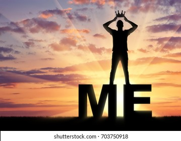 Concept of narcissism and selfishness. The silhouette of a selfish and narcissistic man reconciling himself with a crown on the word me