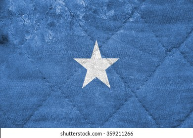 The concept of national flag on stitched canvas background: Somalia