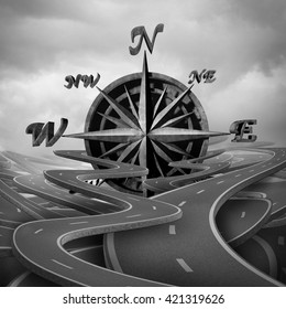 Concept of navigation as a business compass symbol or moral compass icon in a group of roads and pathway routes as a journey metaphor for destination vision as a 3D illustration.