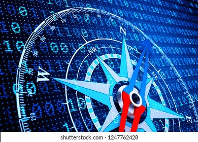 Concept of navigation in the digital world of information technology, compass on blue computer data background, 3d illustration
