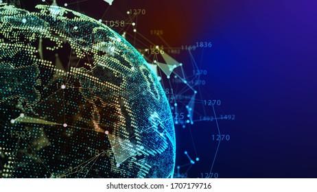 Concept of Network, internet communication. 3d illustration.
