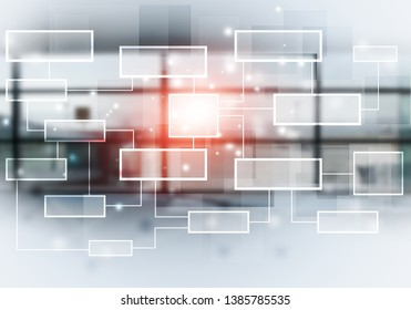 concept networking communication business flow chart background. mixed media