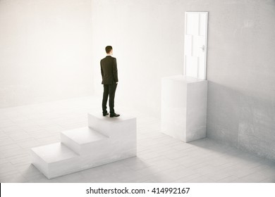 Concept of obstacle overcoming with businessman standing in front of missing step on his way to a white door. 3D Rendering