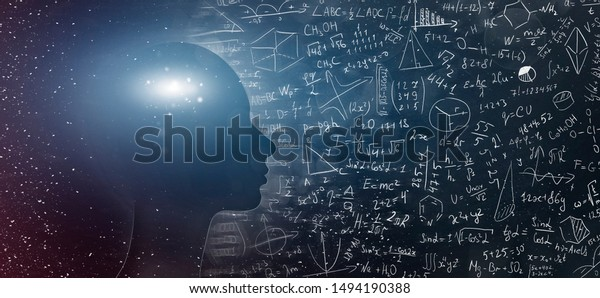 Concept on scientific and philosophical topics. Silhouette of human with universe and physical, mathematical formulas, panorama, free space