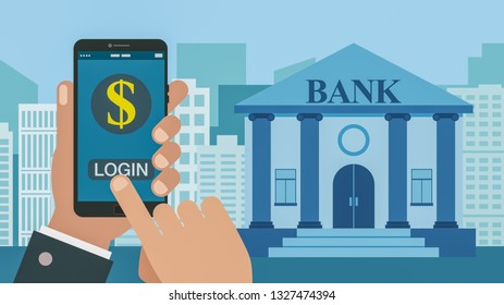 concept of online banking, cartoon flat style
