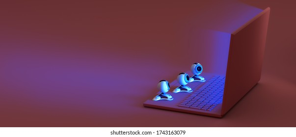 Concept of online virtual event, visitors, viewers watching online movie, exhibition, museum, theatre, webinar, course from home. 3d rendered pink laptop with web cameras watching the blue screen
