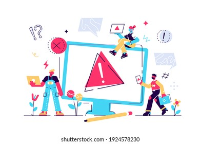 Concept operating system error warning. 404 error web page illustration, Error warning window operating system. for web page, banner, presentation, social media, documents, posters.