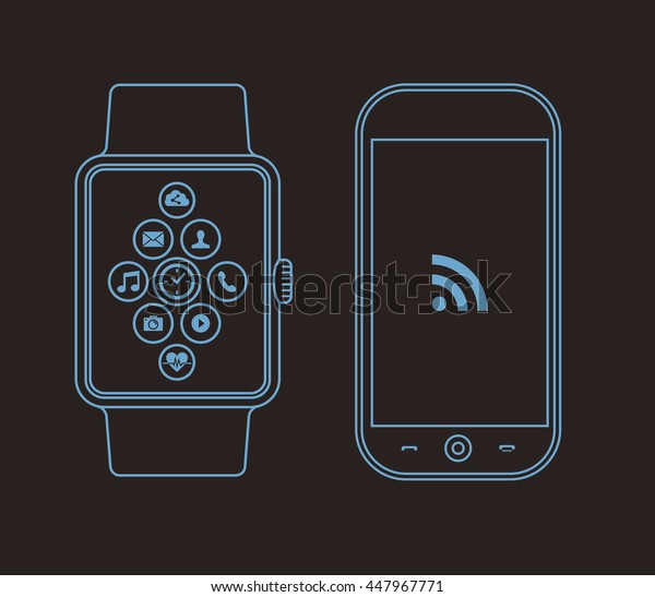 Concept outline illustration of smart watch and mobile phone with social app icons on screen.