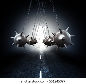 concept of overcoming obstacles. Obstacles on the road a Mace with spikes on the chains leading to the white door which is visible from the light. 3D illustration