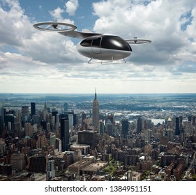 Concept of a passenger drone flying above the New York. City transport of future. Air taxi. Photo with 3d rendering object. Elements of this image furnished by NASA