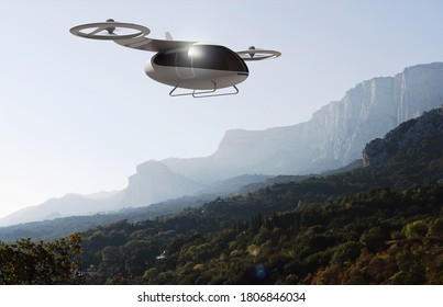 The concept of a passenger drone flying over mountainous terrain. Transport of future. Air taxi. Photo with 3d rendering object