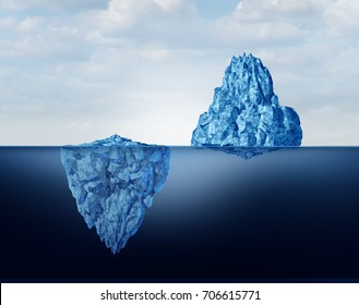 Concept of perspective as a business metaphor for comprehension and vision of discovery and reality as a big and small iceberg symbol as a 3D illustration.