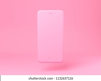 Concept pink iphone on a isolated pastel background. 3d render. Creative minimal summer idea.