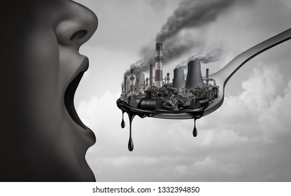 Concept of pollution and toxic pollutants inside the human body and eating contaminated food as an open mouth ingesting industrial toxins or climate change affects with 3D illustration elements.